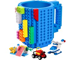 POXIWIN Build-on Brick Mug,with 3 Packs of Blocks at random,Creative DIY Building Blocks Cup for Water Juice,Novelty Coffee M