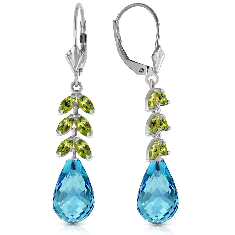 ALARRI 11.2 Carat 14K Solid White Gold Committed Love Peridot Blue Topaz Earrings