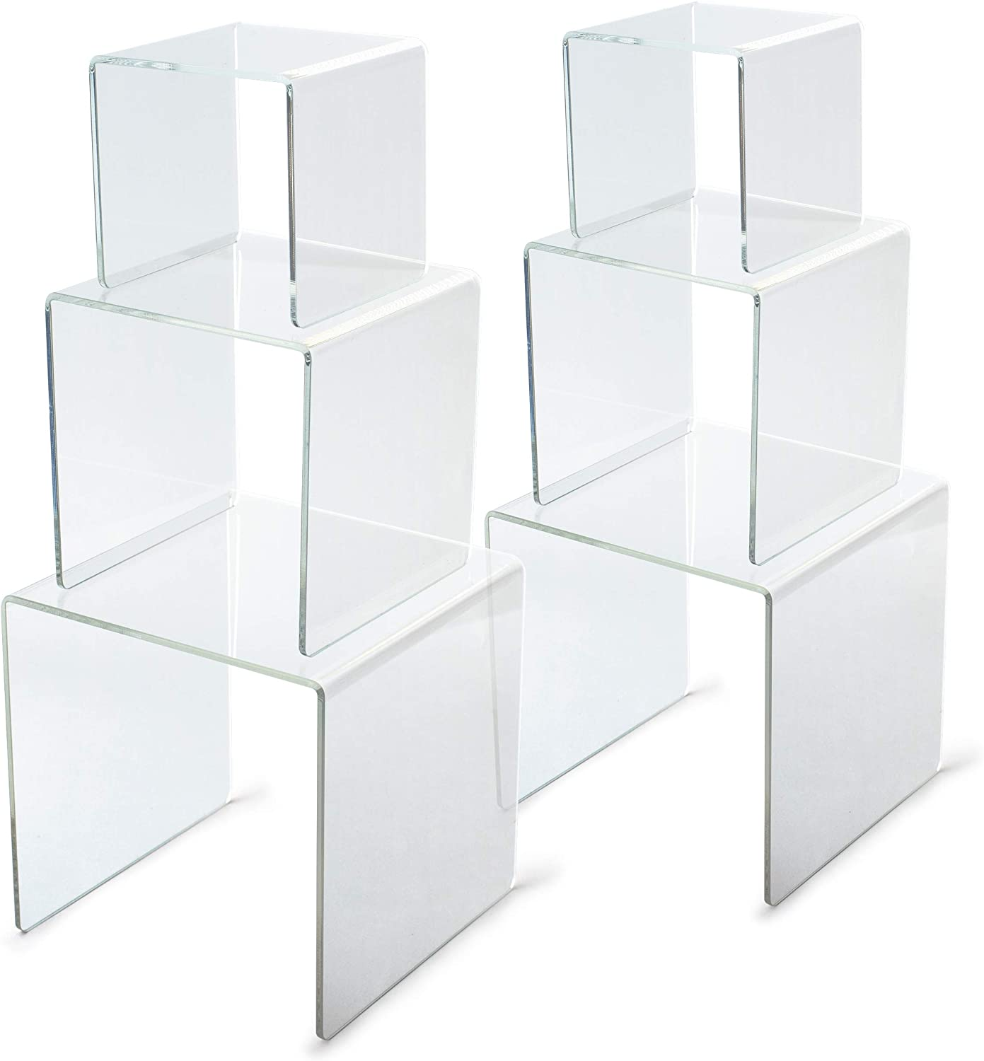 Acrylic Riser, Acrylic Display Risers, Acrylic Display Stands, Acrylic Risers for Display, Funko Pop Display Stand, Candy Table Supplies, Acrylic Shelf Riser, Clear Cake Stand, 2 Sets (3