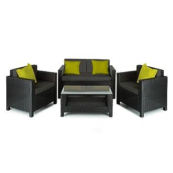 Blumfeldt Verona - Salon de Jardin 4 pièces : canapé 2 Places, 2 fauteuils  et Table avec Plateau en Verre (Espace de Rangement sous canapé, ...