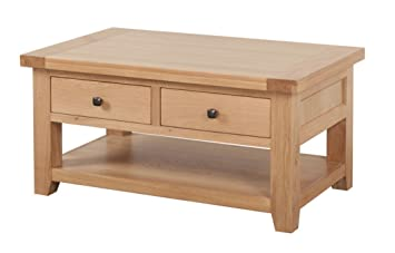 Pleasing Devon Solid Oak 2 Drawer Coffee Table Natural Oak Lacquer Download Free Architecture Designs Lukepmadebymaigaardcom