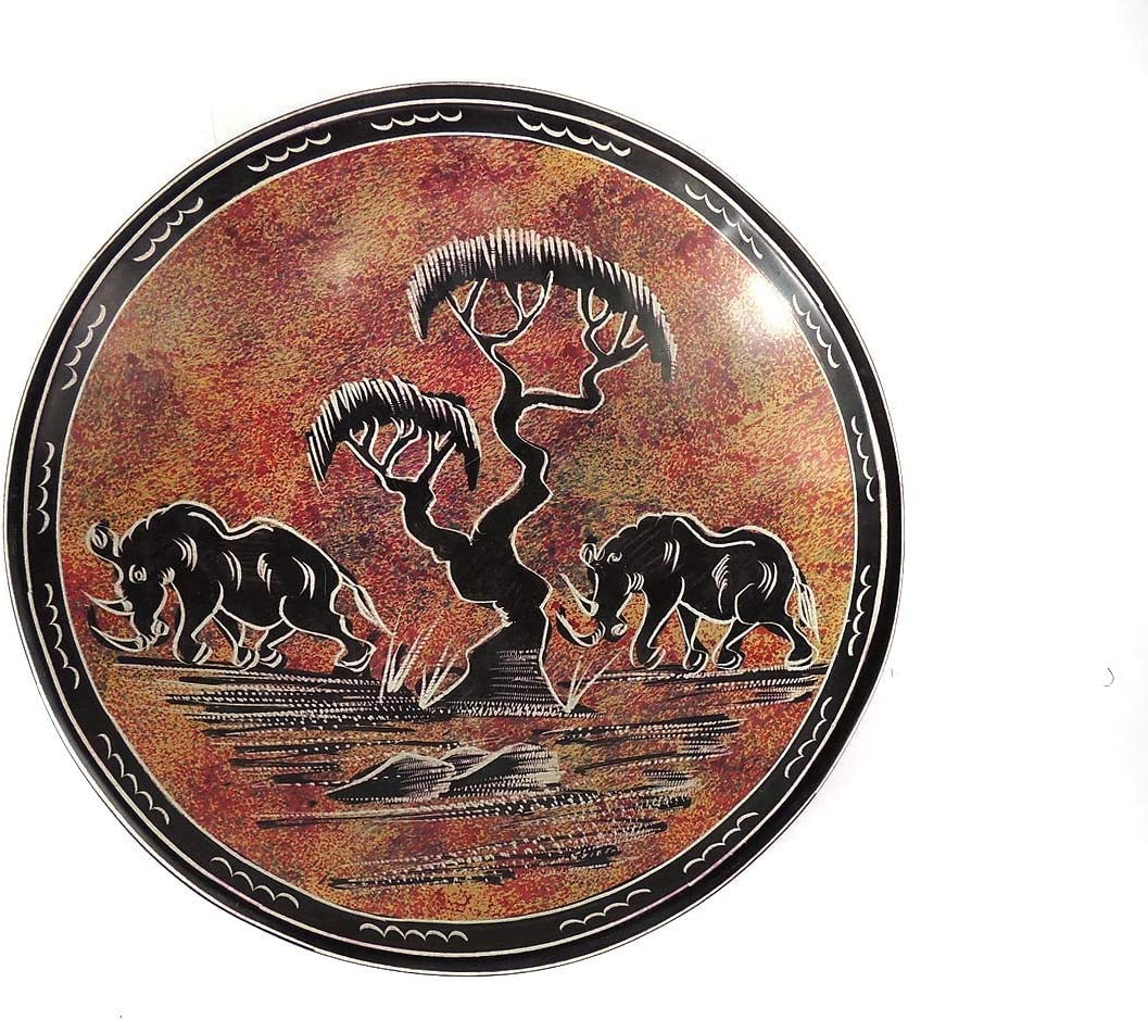 Stone Plate Cape Rhinos Kisii Kenya African 10 Inch Home Kitchen Amazon Com