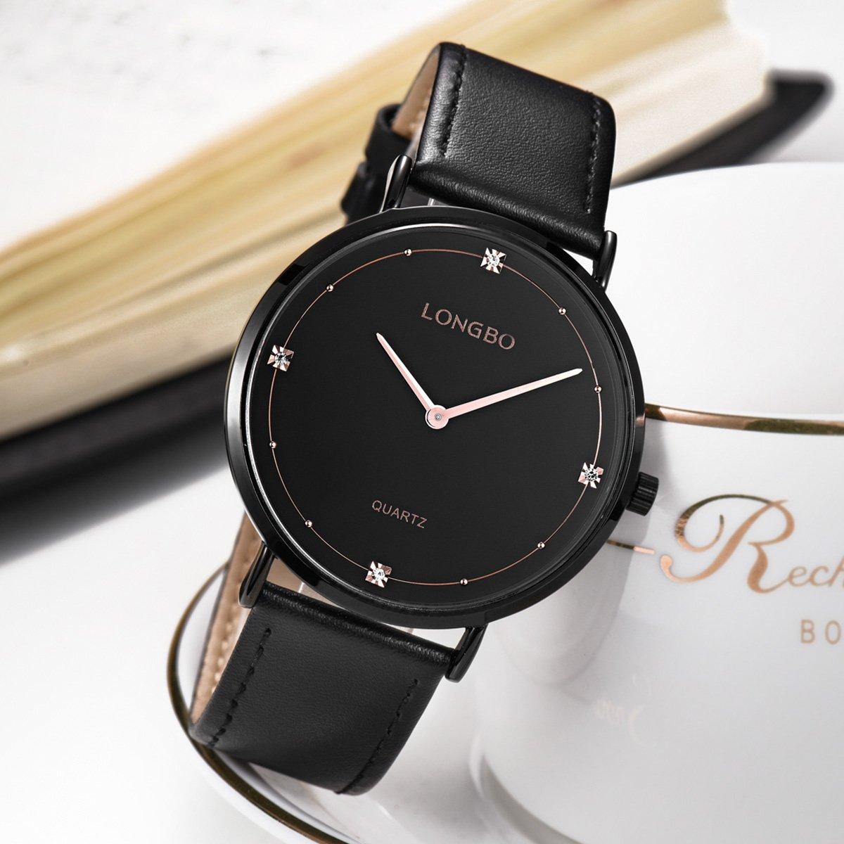 d8d0499140 Amazon | スタイリッシュなメンズ腕時計黒革バンドクォーツ時計は、金の手とラインストーン高貴な時計をバラ | メンズ腕時計 | 腕時計 通販