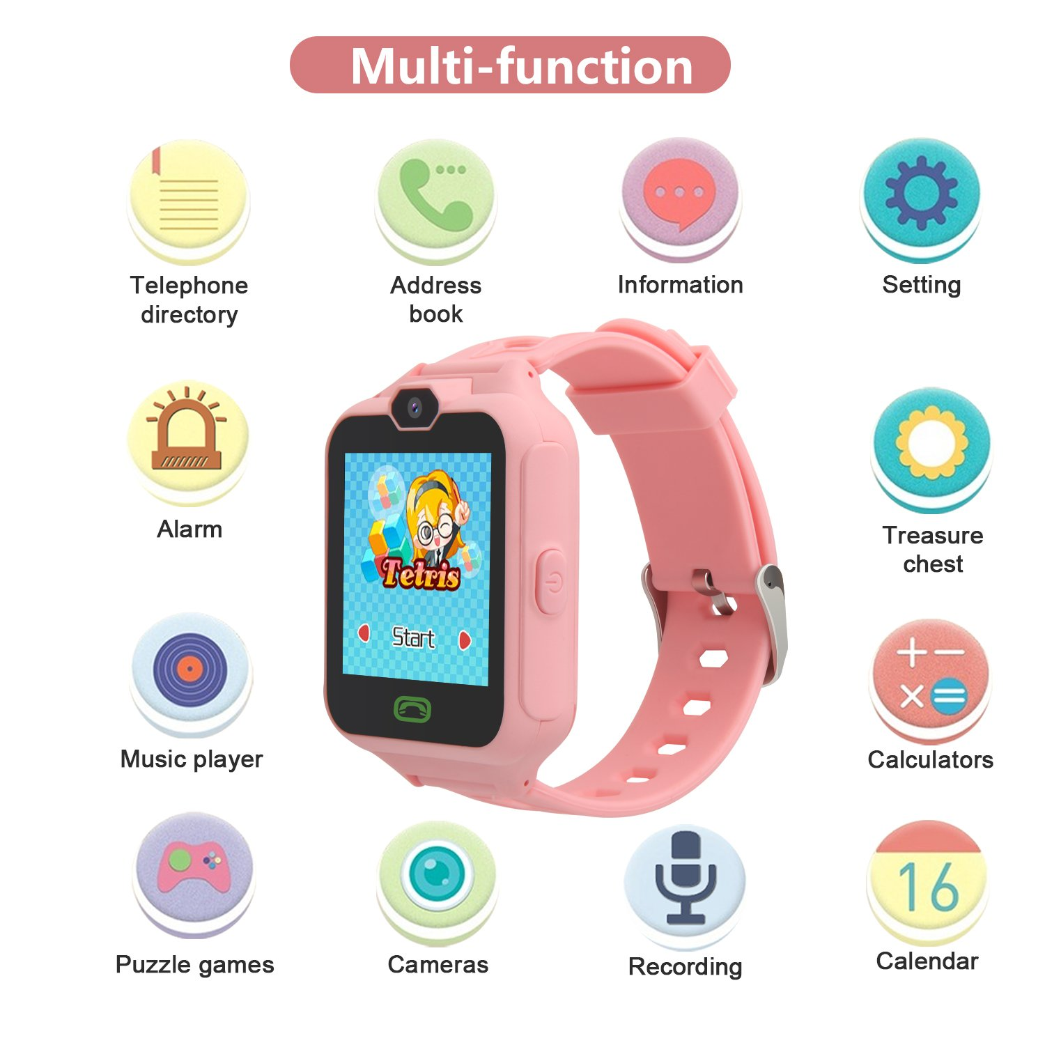 HSX_Z Phone Watch for Kids Smart Watch for Kids with Digital Camera Touch Screen, Phone Game Cool Toys Watch Gifts for Girls Boys Children Birthday Gifts Watch£­Pink by HSX_Z (Image #4)