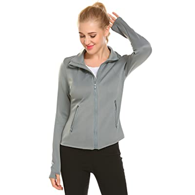 SoTeer Womens Sport Long Sleeves Zip-Up Thumb Holes Yoga Jacket Training Coat: Clothing