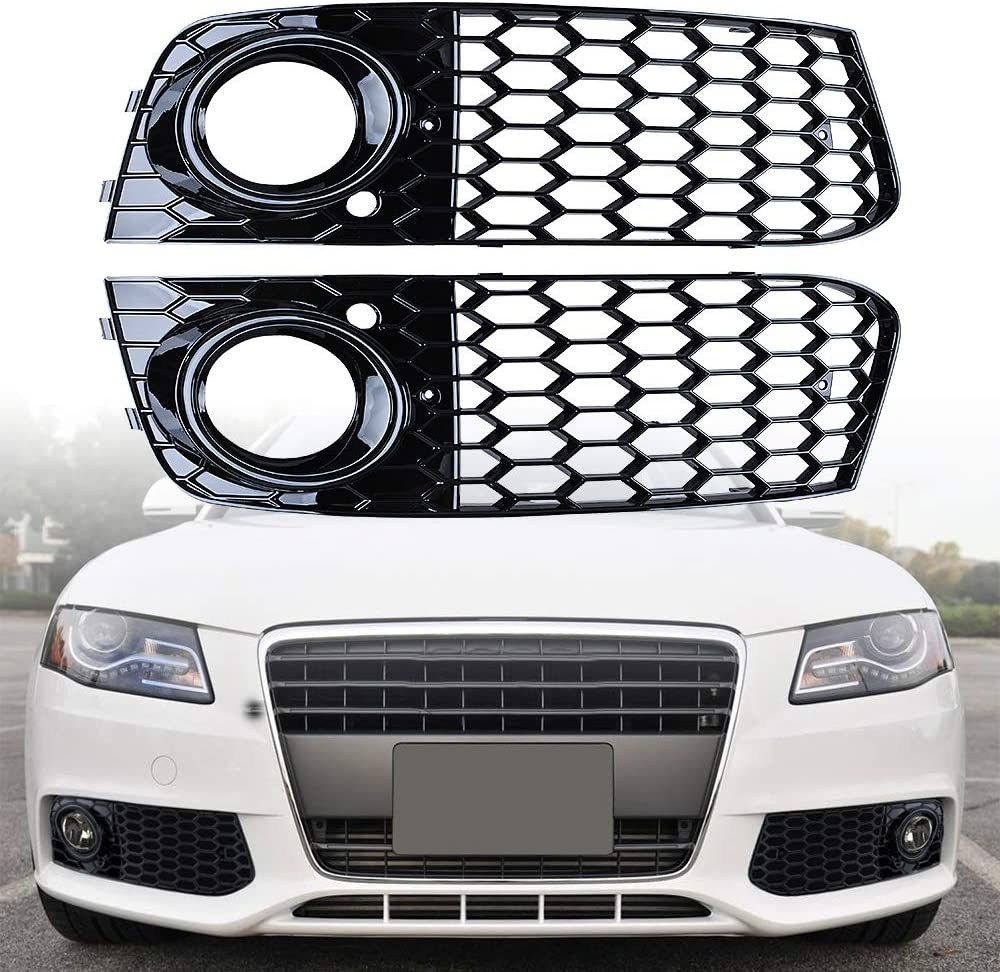 for Audi A4 A5 Front Honeycomb Hex Mesh Foglight Open Vent Grill Intake Cover for Audi A4 B8.5 2013-16, Gloss Black