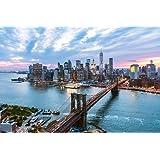 New York City Manhattan Brooklyn Bridge at Dusk Photo Art Print Poster 18x12