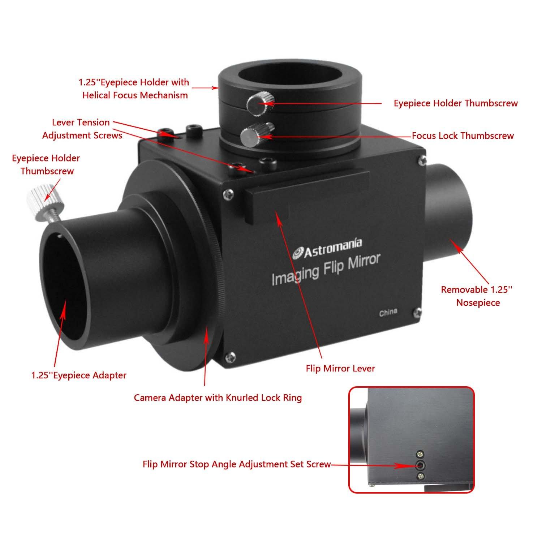 Astromania 1.25'' Astrophotography Flip Mirror with Eyepiece Adapter by Astromania