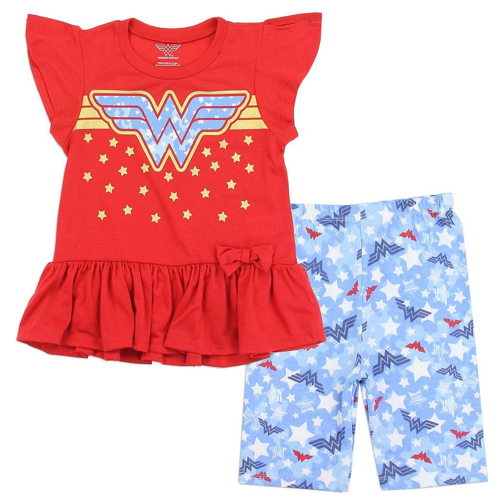 DC Comics Little Girls' Wonder Woman Bike Shorts Set