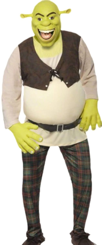 Confettery - Herren Kostüm Shrek mit Top, Hose, Handschuhen und Maske, M, Grün-braun