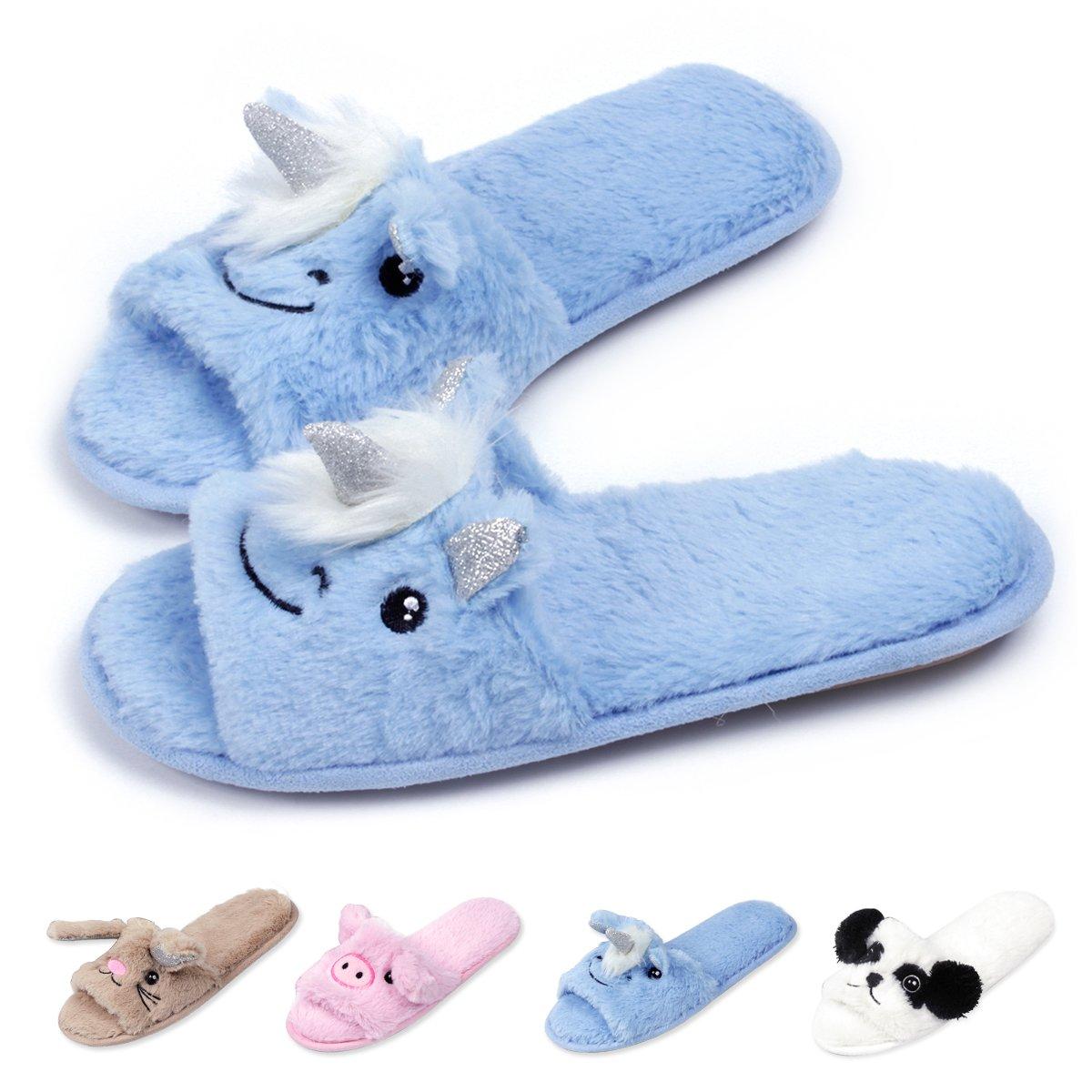 Womens Open Toe Slippers | Cute Bunny Unicorn Animal Slipper | Soft Fleece Memory Foam Clog | Anti-Slip Sole Indoor Outdoor Shoes | Flip Flop Spa Slippers (9-10, BlueUnicorn)