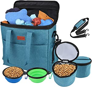 GUIFIER Large Dog Travel Bag   Airline Approved Dog Food Travel Bag with Multi-Function Pockets,2 Food Container Bag, 2 Collapsible Bowl   Perfect Weekend Pet Travel Set for Dog/Cat