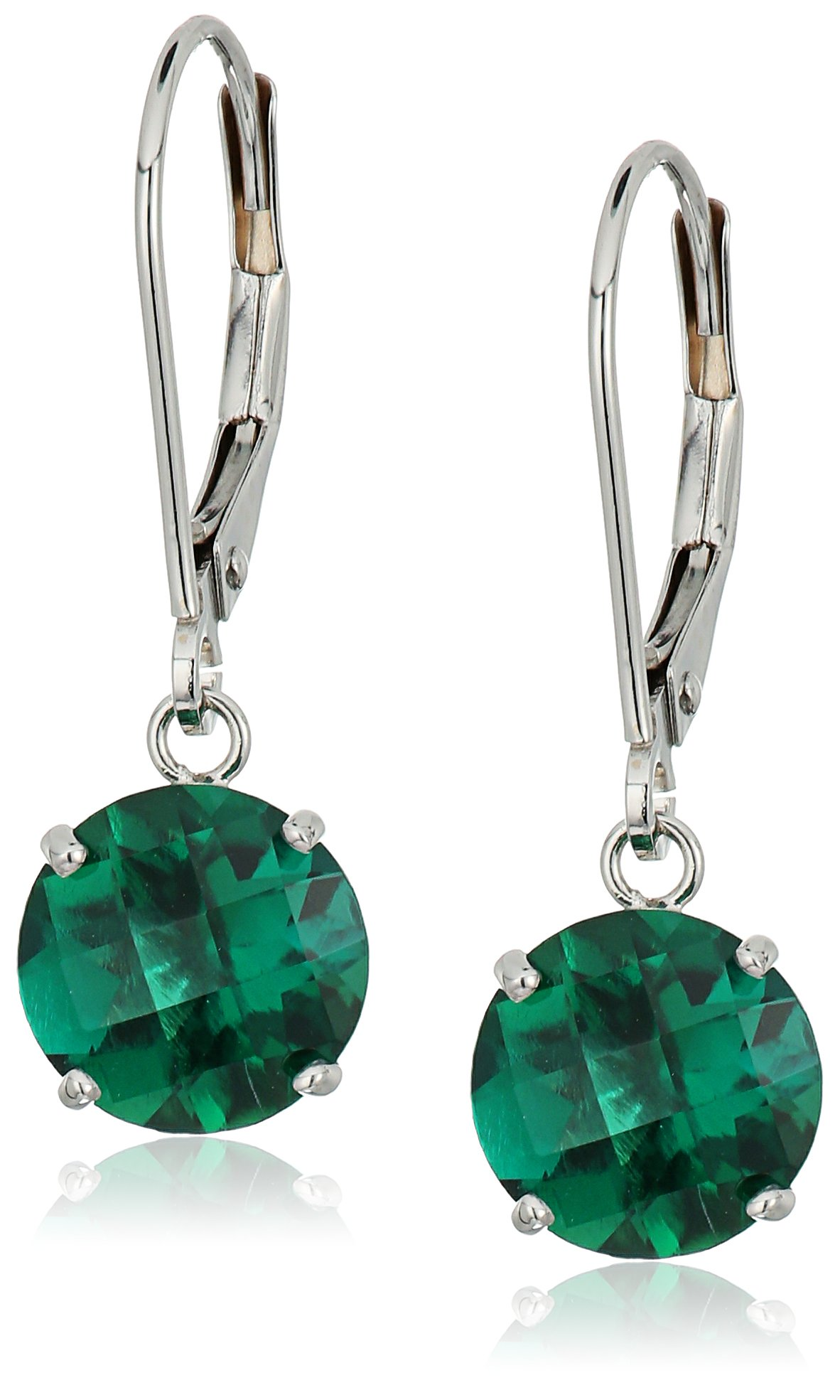 10k White Gold Round Checkerboard Cut Created Emerald Leverback Earrings (8mm)