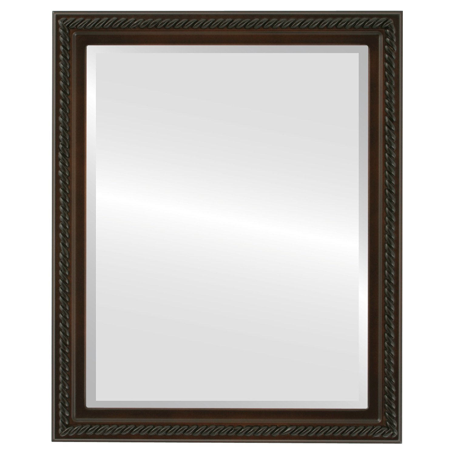 Rectangle Beveled Wall Mirror for Home Decor - Santa Fe Style - Walnut - 24x30 outside dimensions