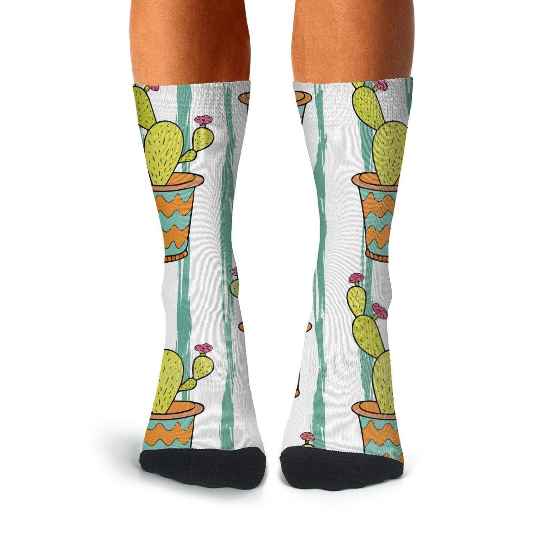 Floowyerion Mens White cactus colorful cartoon flowers Novelty Sports Socks Crazy Funny Crew Tube Socks