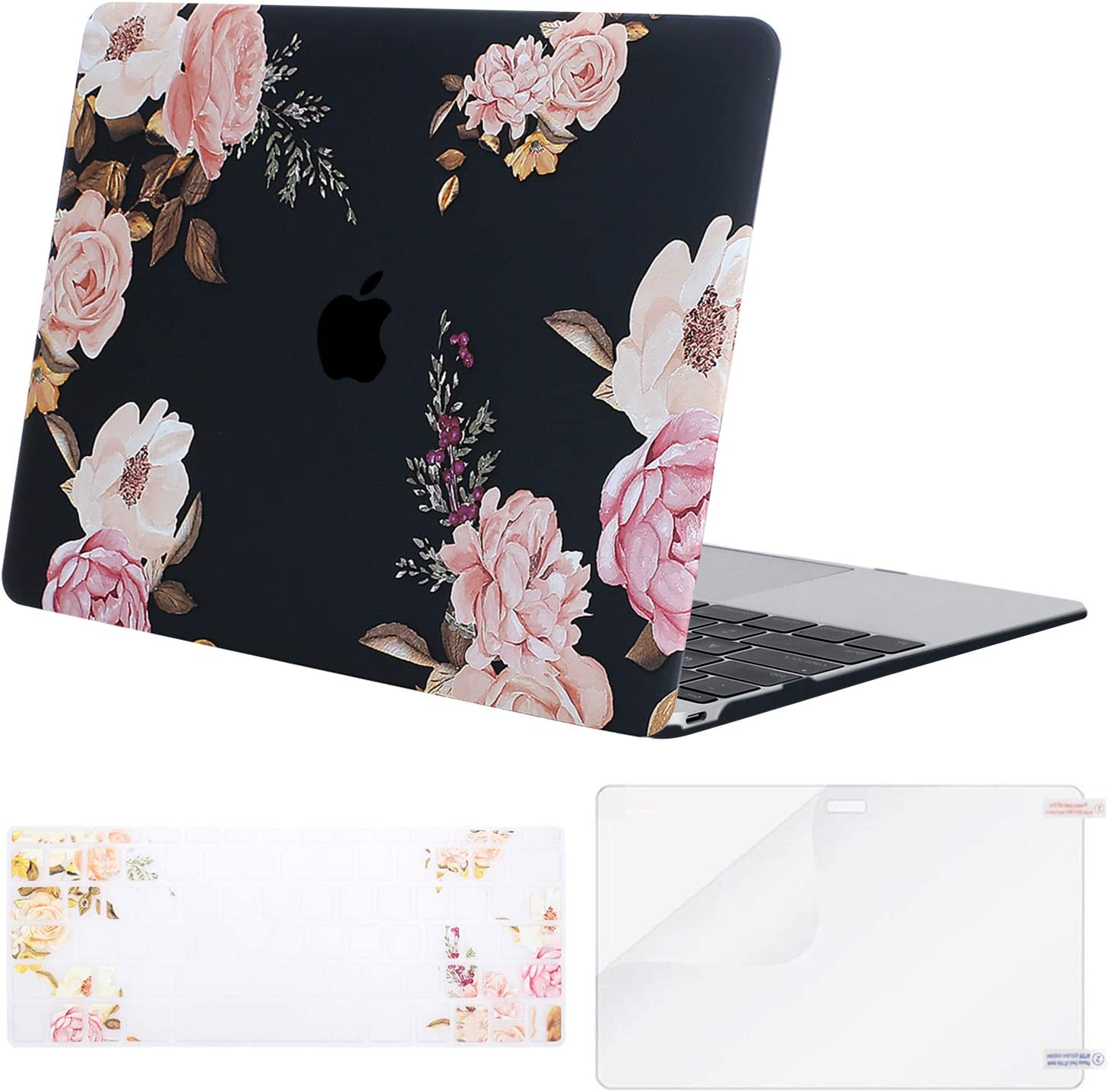 MOSISO MacBook 12 inch Case (Model A1534, Release 2017 2016 2015), Plastic Peony Hard Shell Case & Keyboard Cover & Screen Protector Compatible with MacBook 12 inch with Retina Display, Black
