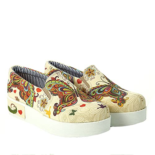 Goby UK Butterfly - Mocasines de Lona Para Mujer Multicolor, Color, Talla 39 EU: Amazon.es: Zapatos y complementos