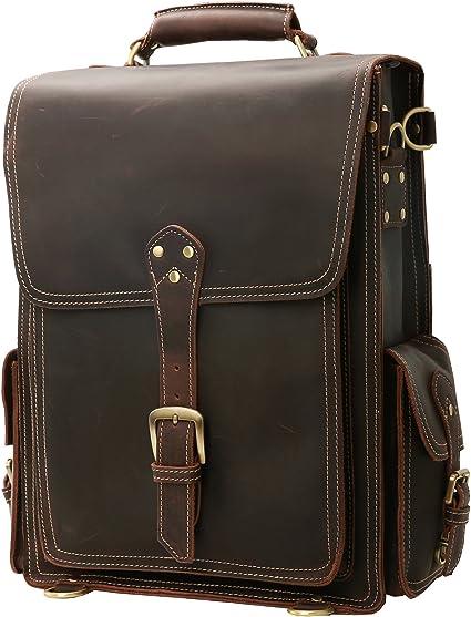 """20/"""" Men/'s Vintage Genuine 2 in 1 Leather Laptop Backpack Rucksack Messenger Bag"""