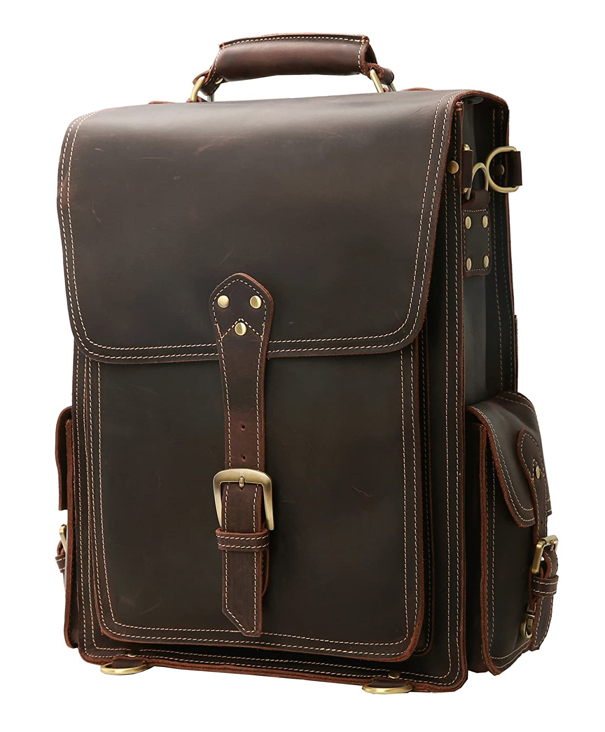 """c1b0e48371 Amazon.com  Iswee Leather 16"""" Laptop Backpack Vintage Travel Rucksack  Overnight Weekender Bag School Daypack  Iswee"""