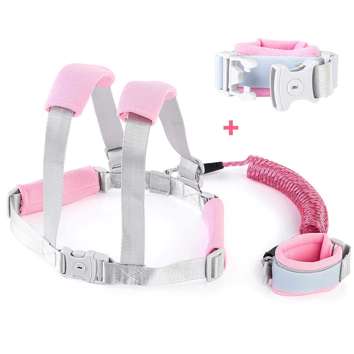 2-in-1 Kids Anti Lost Safety Belts and Toddler Wristband Kits, Reflective Wrist Link, Safety Anti-Lost Harness Leashes for Walking Shopping Outing Travel (Pink)