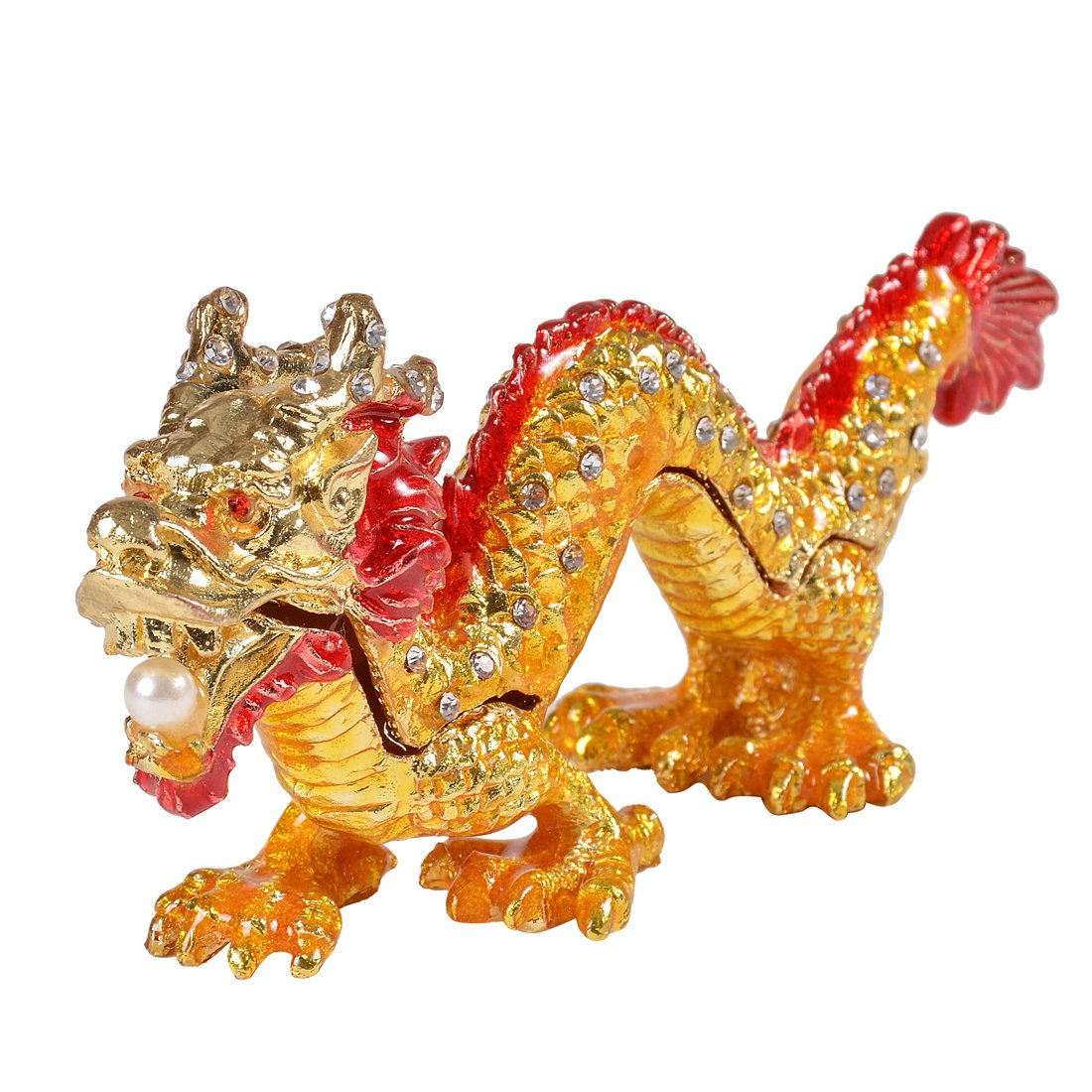 MICG Asian Dragon Trinket Box Hand Painted Animal Figurine Collection Ring Holder