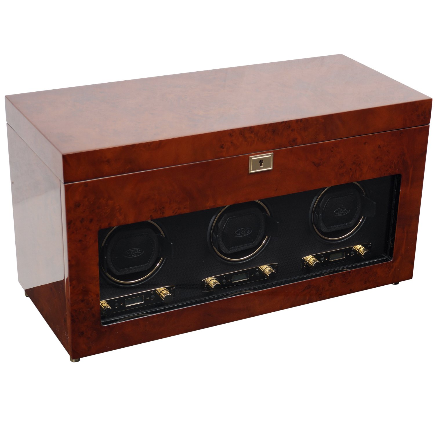 WOLF 454710 Savoy Triple Watch Winder with Cover and Storage, Burlwood