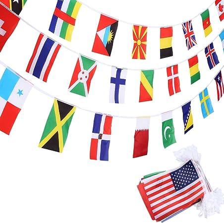 SATINIOR Banderas de 200 Países Banderas Internacionales Banderas Olímpicas Guirnalda de Banderas para Bar, Aula, Decoración de Fiesta Olímpica, Club Deportivo, Celebración de Eventos Internacional: Amazon.es: Hogar