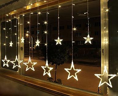 Led Weihnachtsbeleuchtung Für Fenster.Smithroad 132er Led Lichterkette Batteriebetrieben Und Usb Betrieben Sterne Lichtervorhang Fernbedienung Timer 8 Modi Weihnachtsbeleuchtung Für Innen