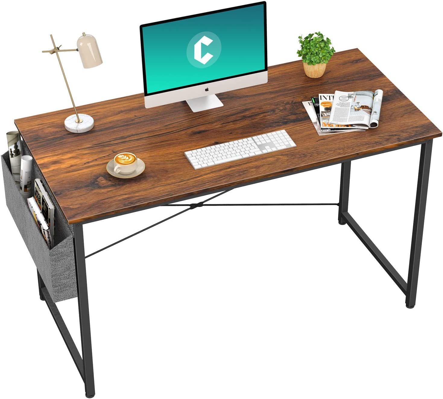 """Cubiker Computer Desk 47"""" Home Office Writing Study Desk, Modern Simple Style Laptop Table with Storage Bag, Dark Rustic"""