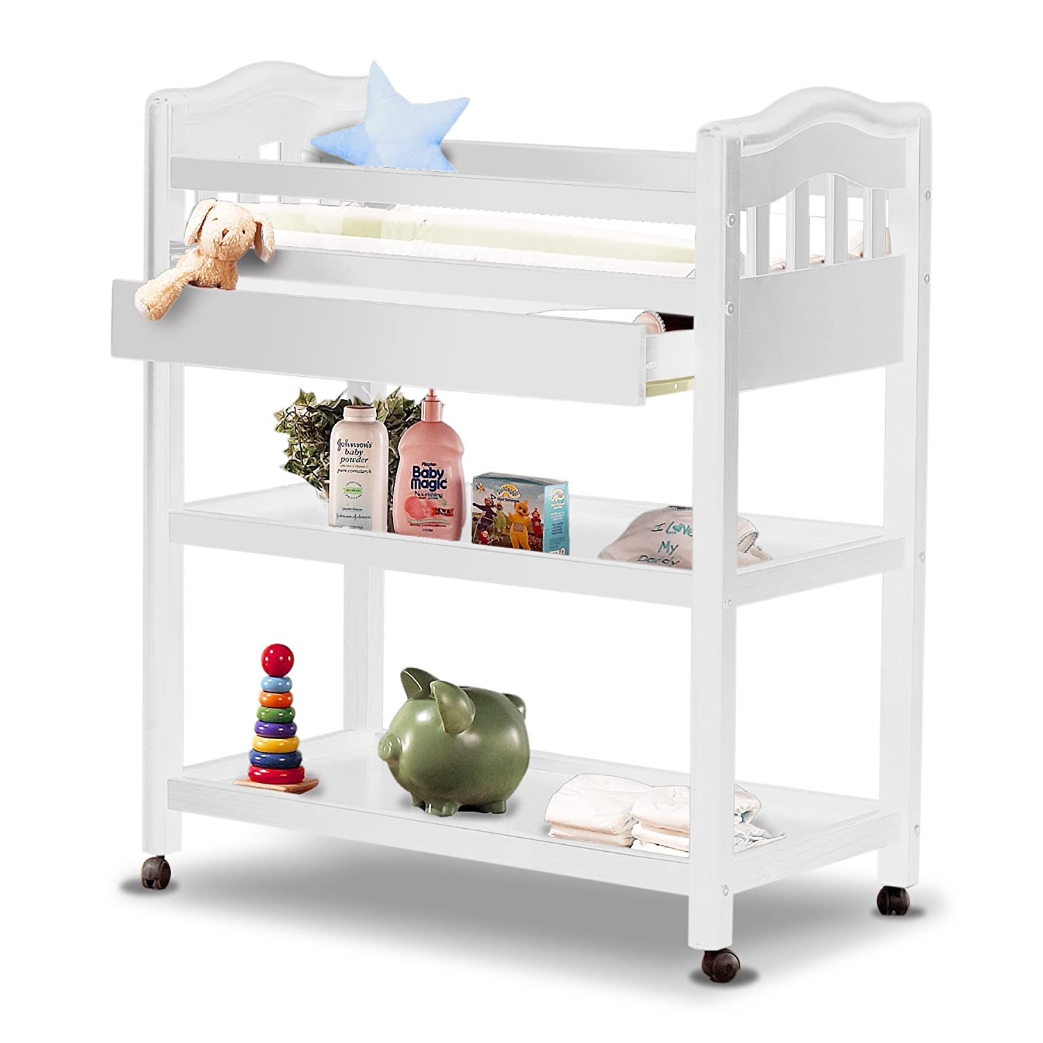 Amazon.com : Sorelle Nicki Dressing Table, French White : Changing Tables :  Baby