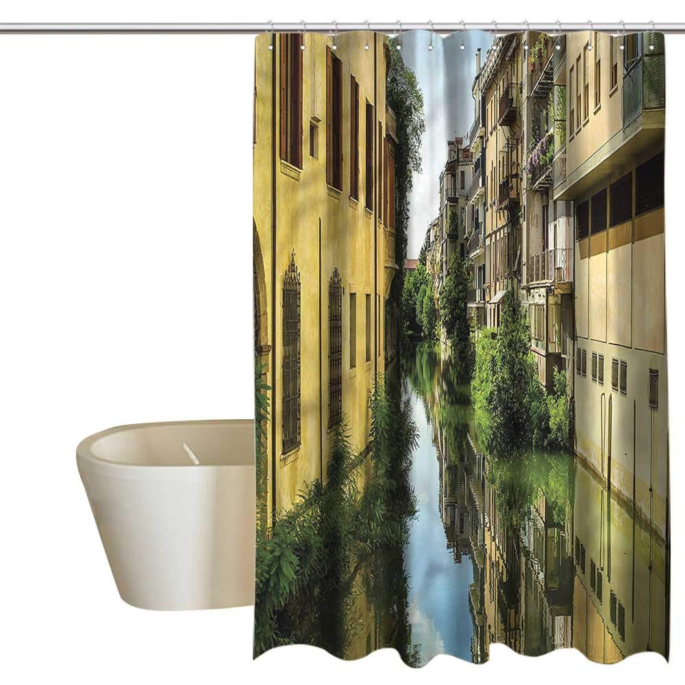 Denruny Shower Curtains Purple and Gray Cityscape,City Canal Residential,W72 x L96,Shower Curtain for Bathroom