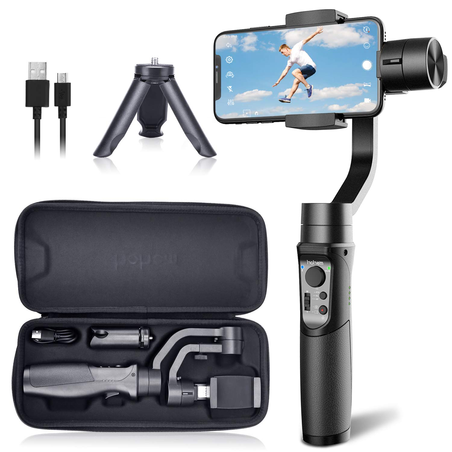 Hohem iSteady Mobile Plus Gimbal Stabilizer 3-Axis Handheld for iPhone 11/11 Pro/Max/XS/XS MAX/XR, for Samsung Galaxy S10/S10 Plus/Note 9/ Plus, Playload 280G, with Face ID, Motion Lapse, for Vlog by hohem