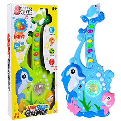 Coxeer Kids Musical Toy Creative Plastic Electric Cartoon Guitar Toy Musical Instrument for Kids Children Education Early Learning Musical Toy: Toys & Games