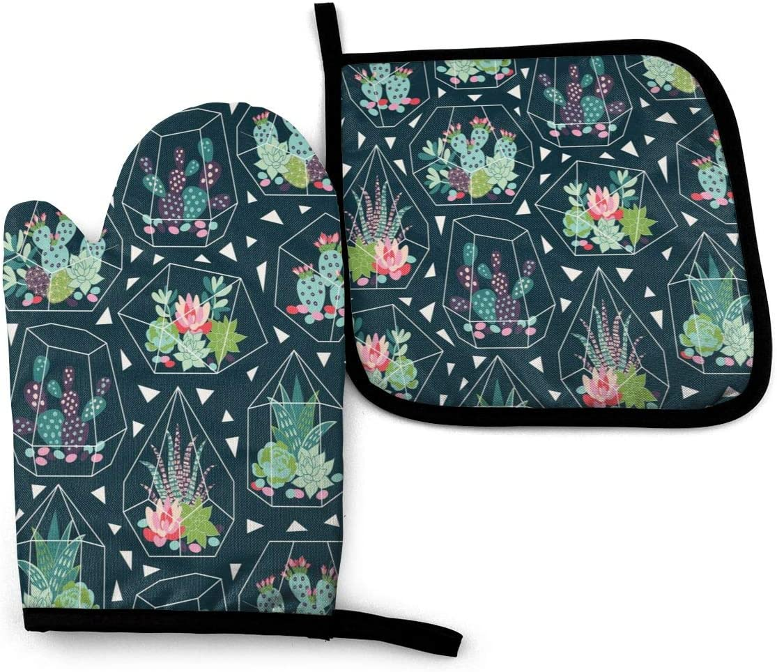 FeHuew Tropical Seamless Cactus Succulent Oven Mitt Set Pot Holder Heat Resistant Hot Kitchen Insulated Glove for Microwave Cooking BBQ Baking Grilling Washable