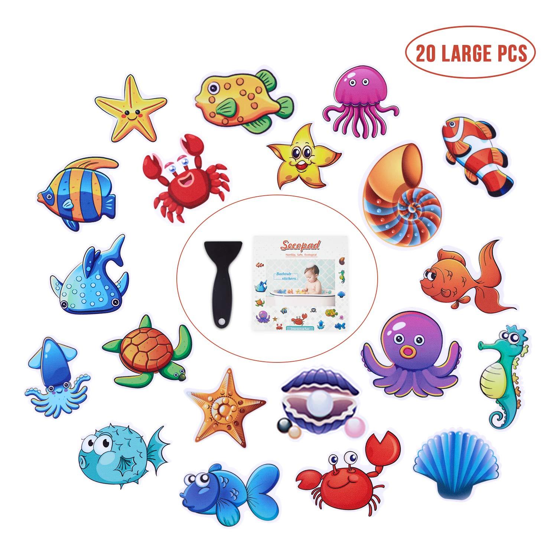 Non Slip Bathtub Stickers, 20 Large Sea Adhesive Kids Anti Slip Decal Threads for Shower and Bath Tub with Premium Scraper