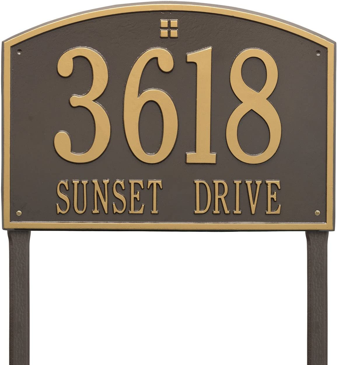 Aluminum 2 Line Cape Charles Estate Lawn Address Plaque 20.5W x 14H Large 7 High Numbers