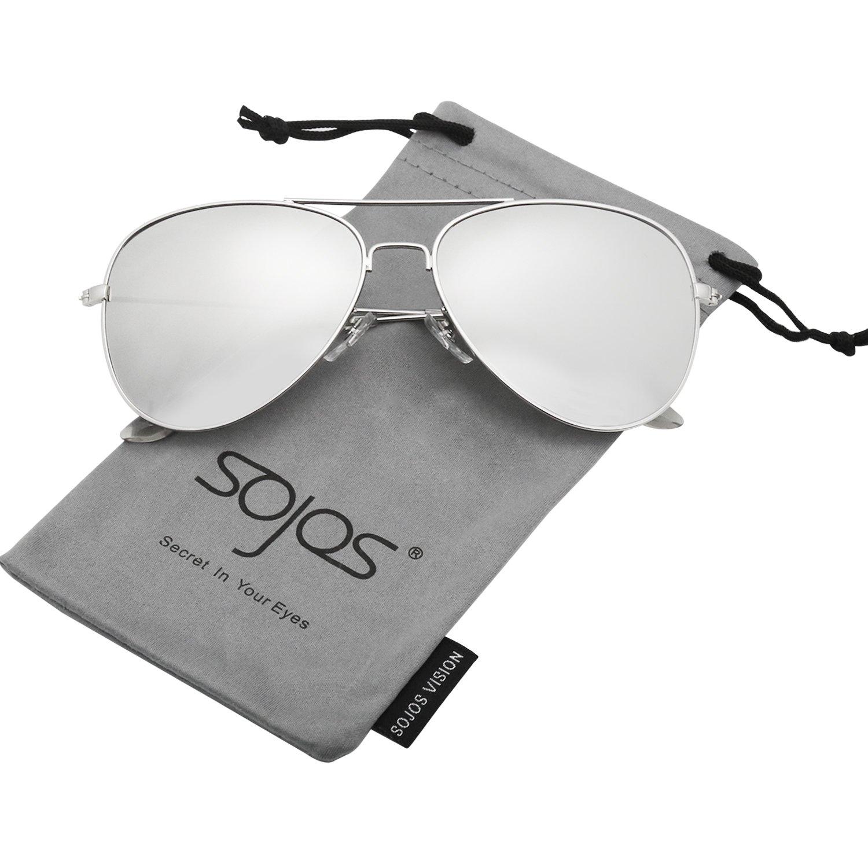 a73b78c1f5 Galleon - SOJOS Classic Aviator Polarized Sunglasses Mirrored UV400 Lens  SJ1054 With Silver Frame Silver Mirrored Lens