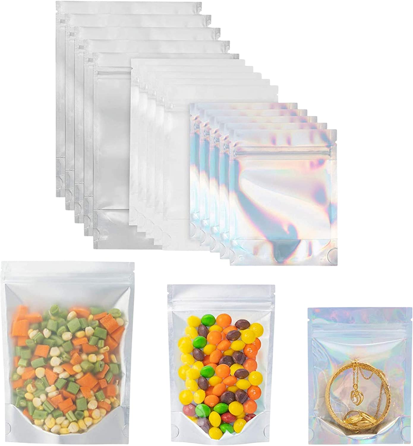 BKEN Aluminum Foil Mylar Bags for Food Storage 120 Pieces Resealable and Reusable Smell Proof Bags with Clear Front Pocket for Coffee Beans, Spices, Candy Packaging, Nuts