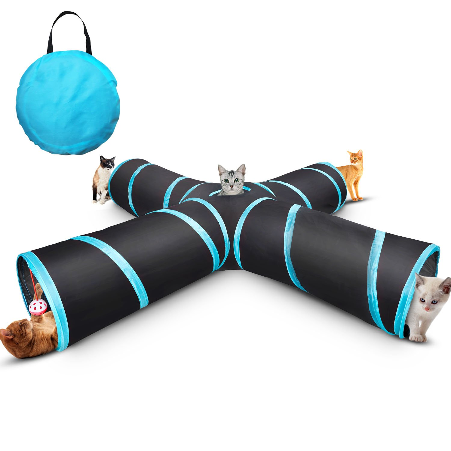 Creaker 4 Way Cat Tunnel Collapsible Pet Play Tunnel Tube Toy with a Bell Toy & a Soft Ball Toy for Cat, Puppy, Kitty, Kitten, Rabbit by Creaker