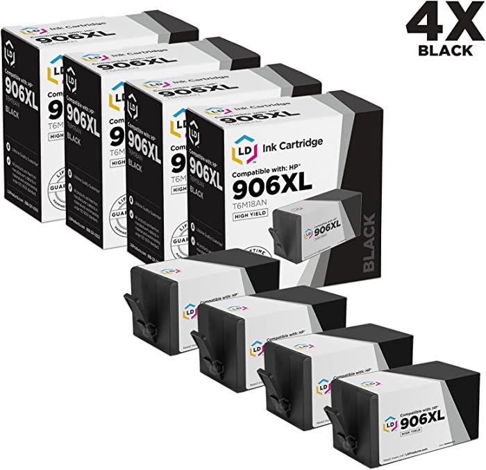 LD Compatible Ink Cartridge Replacement for HP 906XL T6M18AN High Yield (Black, 4-Pack)
