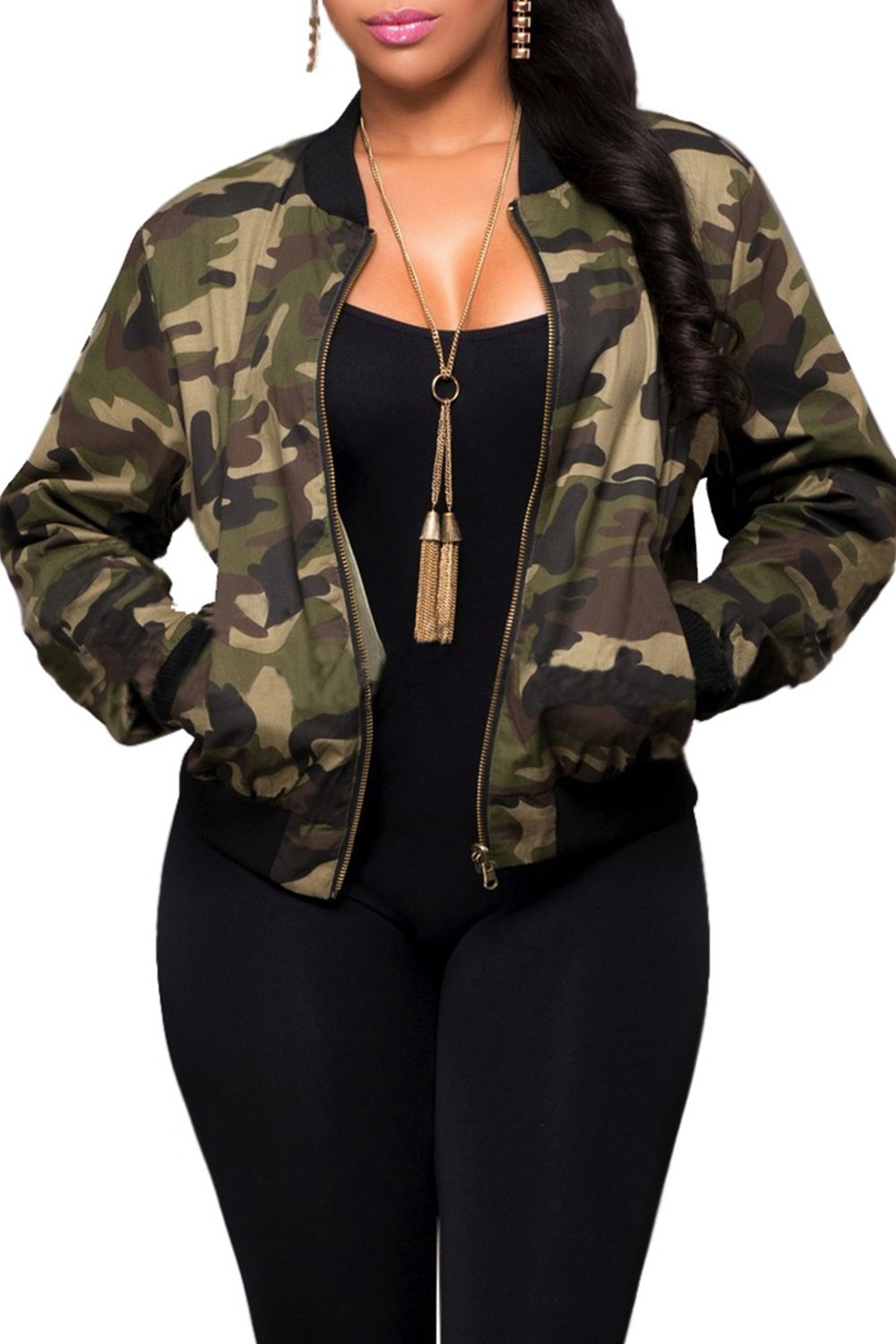 Women Fall Casual Camouflage Print Zip Up Army Military Camo Bomber Jacket Outcoat CAFZ846