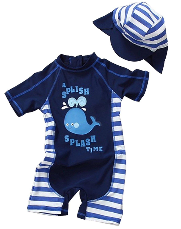 Toddler Baby Boy Summer Long Sleeve One Piece Rash Guard Swimsuit Sun Protection Dark Blue 12-18 Months