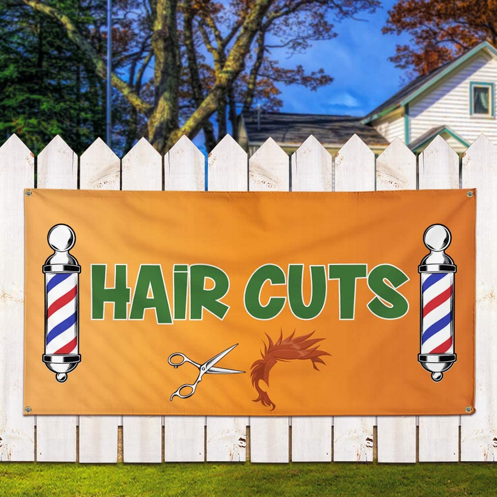 Set of 2 32inx80in 6 Grommets Vinyl Banner Sign Hair Cuts #1 Business Hair Outdoor Marketing Advertising Yellow Multiple Sizes Available