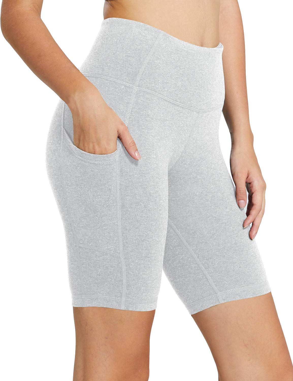 Baleaf Women's 8'' High Waist Tummy Control Workout Yoga Shorts Side Pockets Light Grey Size M by Baleaf