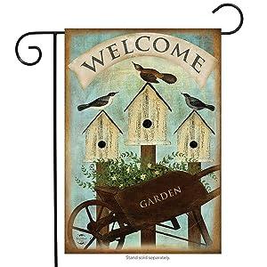 "Briarwood Lane Wheelbarrow Welcome Spring Garden Flag Birdhouses 12.5"" x 18"""