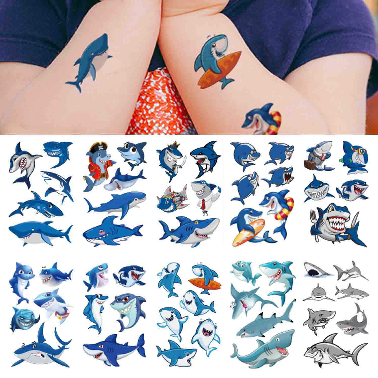 Shark Temporary Tattoo(54 design),COKOHAPPY Shark Tattoo Body Sticker Costume Accessories for Ocean Sea Shark Themed Baby Shower Birthday Party Favor Supplies Decor for Boy Girl Kid Party Bag Filler