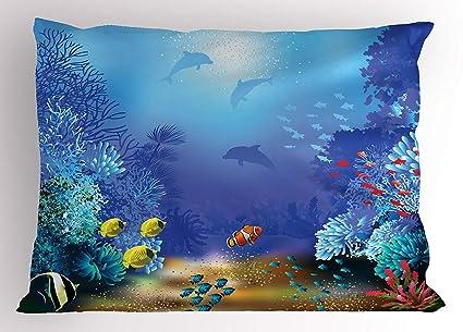 Amazon Com K0k2t0 Underwater Pillow Sham Underwater Coral Reef