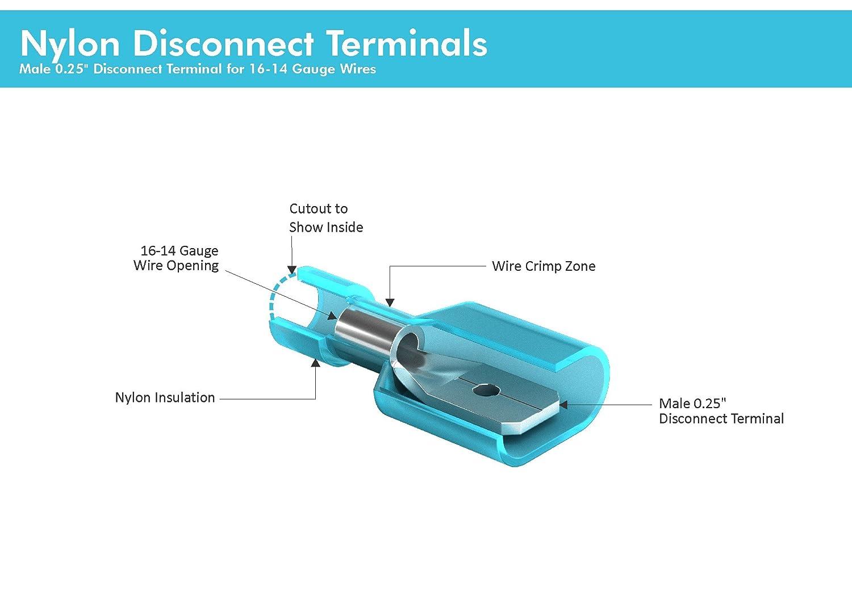Amazon.com: 100 PCS Blue Male Nylon Disconnect Spade Terminal, 16-14 ...