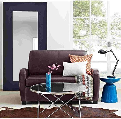 54 Faux Leather Sofa Loveseat Sleeper Brown