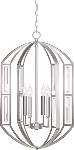Kira Home Lisbeth 28″ 4-Light Modern Lantern Style Pendant Clear Beveled Glass Panel